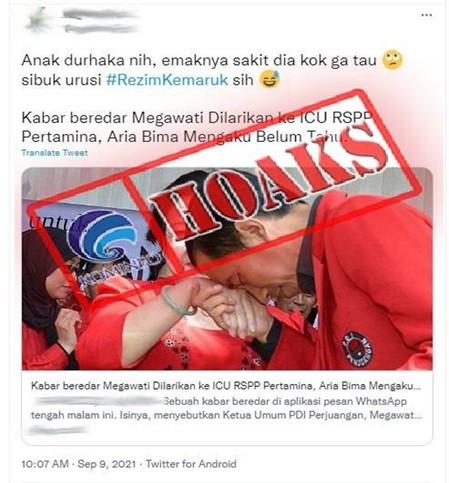 [HOAKS] Megawati Soekarnoputri sedang Sakit