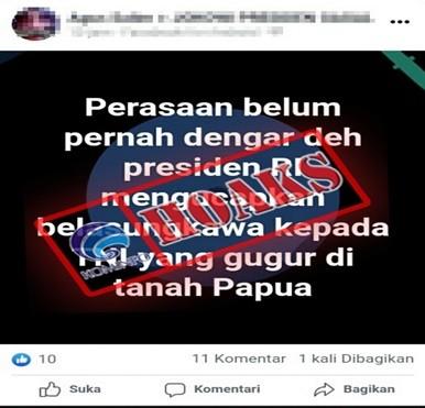 [HOAKS] Tidak Ada Presiden RI yang Mengucapkan Belasungkawa kepada TNI yang Gugur di Papua