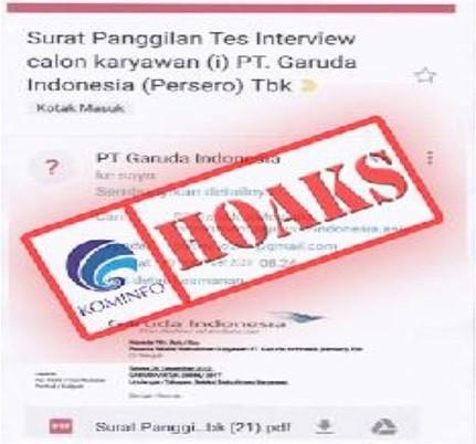 [HOAKS] Panggilan Interview Karyawan PT. Garuda Indonesia 08 September 2020