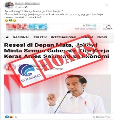 [HOAKS] Jokowi Minta Semua Gubernur Tiru Kerja Keras Anies Baswedan