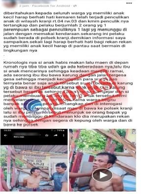 Video Penangkapan Penculikan Anak dalam Karung di Bekasi