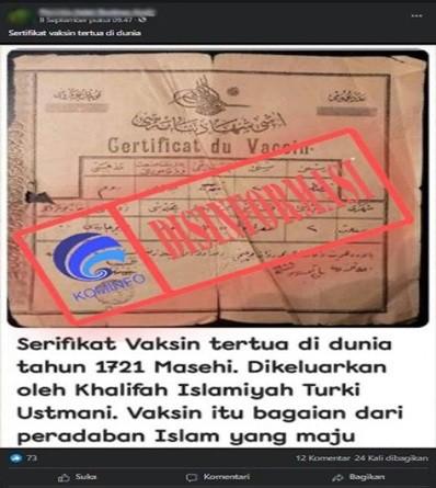 [DISINFORMASI] Sertifikat Vaksin Tertua Dunia Era Turki Utsmani Tahun 1721 M