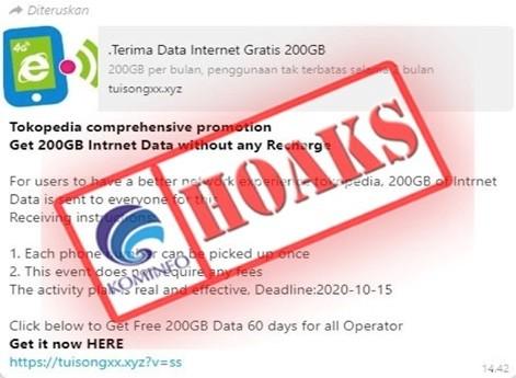 Hoaks Bagi Bagi Data Internet 200 Gb Dari Tokopedia