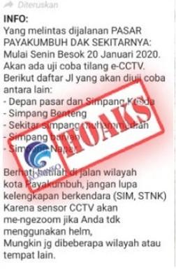 Uji Coba Tilang e-CCTV Tanggal 20 Januari 2020 di Jalanan Pasar Payakumbuh