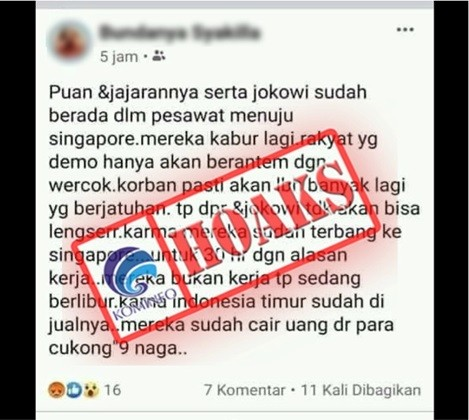 [HOAKS] Puan dan Jokowi Kabur ke Singapura Selama 30 Hari ke Depan