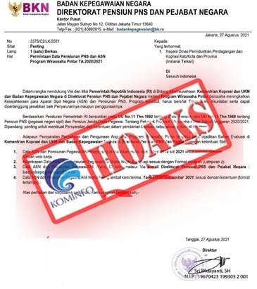 [HOAKS] Surat Permintaan Data Pensiunan PNS dan ASN Program Wirausaha Pintar TA 2020/2021