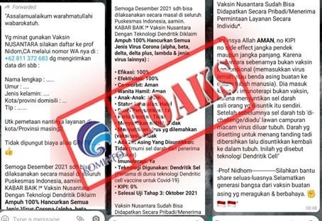 [HOAKS] Pendaftaran Penerima Vaksin Nusantara
