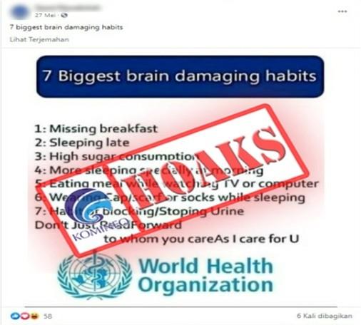 [HOAKS] Grafik WHO terkait 7 Kebiasaan Buruk yang Dapat Merusak Otak