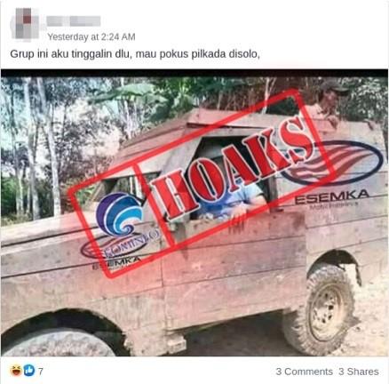 [HOAKS] Foto Mobil Esemka Berbahan Dasar Kayu