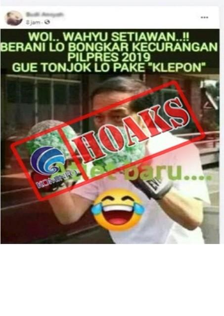 [HOAKS] Foto Presiden Jokowi akan Menonjok Wahyu Setiawan dengan Klepon