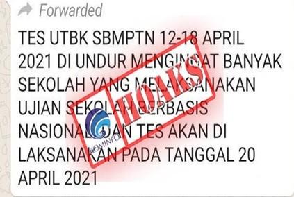[HOAKS] Pelaksanaan UTBK-SBMPTN 2021 Diundur