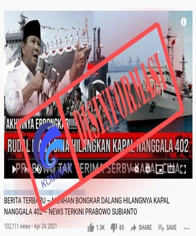 [DISINFORMASI] Prabowo Sebut Rudal China Penyebab KRI Nanggala 402 Tenggelam