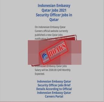 [HOAKS] Lowongan Kerja Kedutaan Besar Republik Indonesia di Doha Qatar