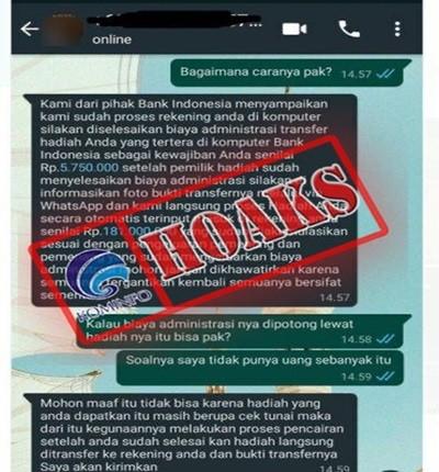 [HOAKS] Informasi Undian Berhadiah Uang Mengatasnamakan Bank Indonesia