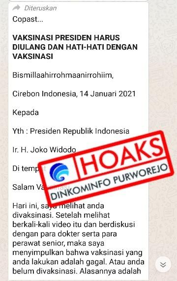 [HOAKS] Pesan Berantai Vaksin Jokowi Gagal Menurut dr. Taufiq Muhibbudin Waly Sp.PD